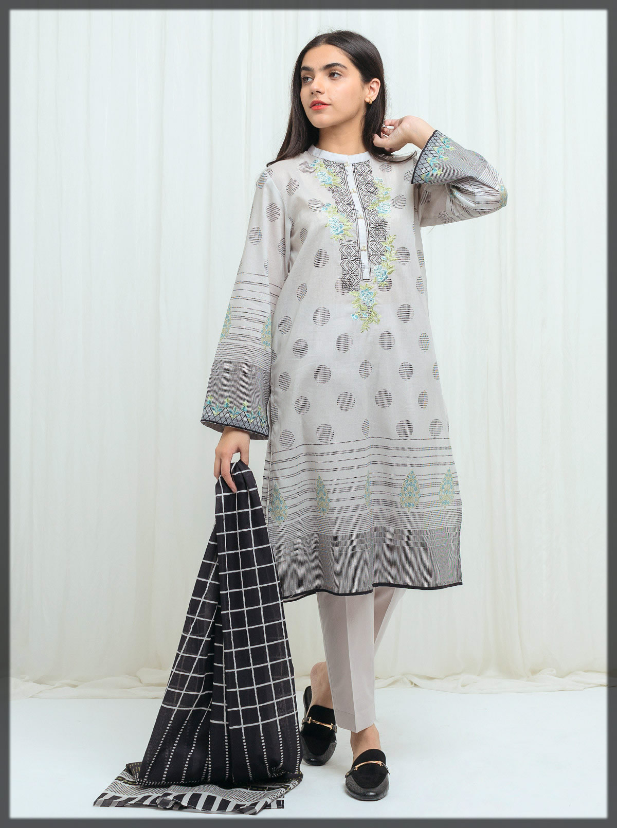 branded ash pearl embroidered dress