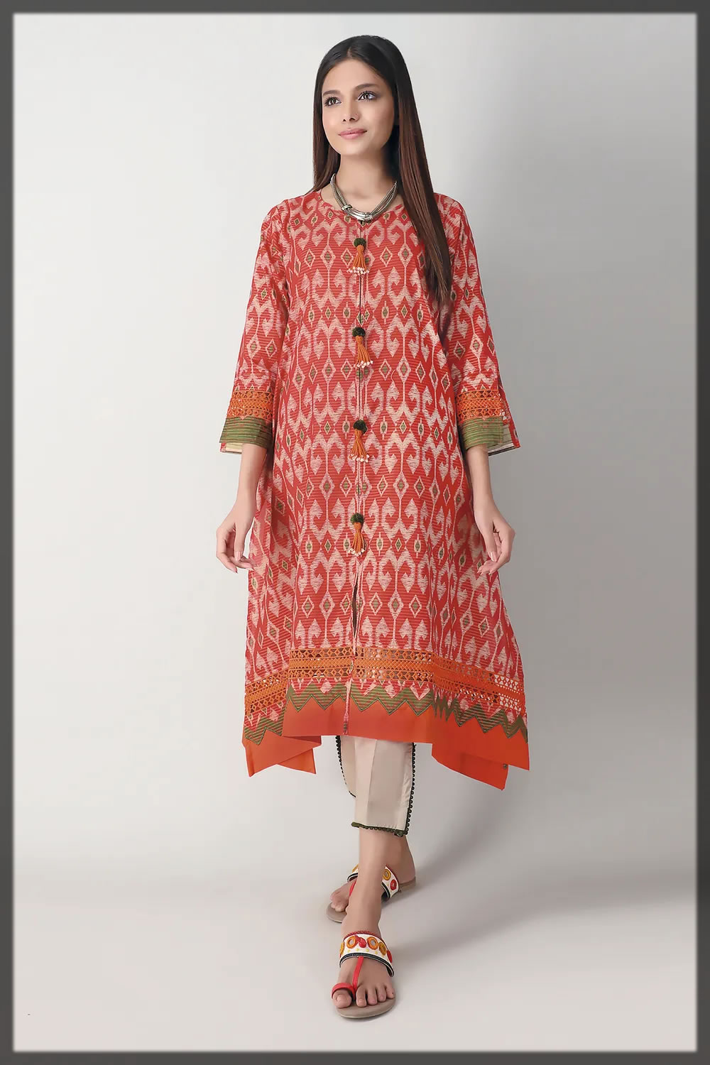 brick red contemporary lawn suit