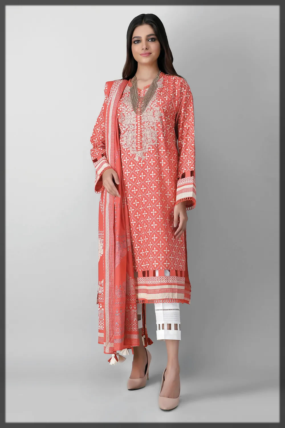 bright peach embroidered lawn suit