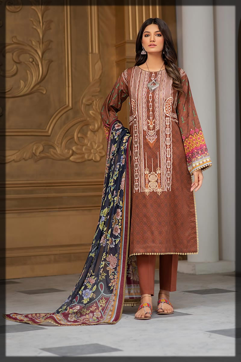 brown embroidered lawn suit