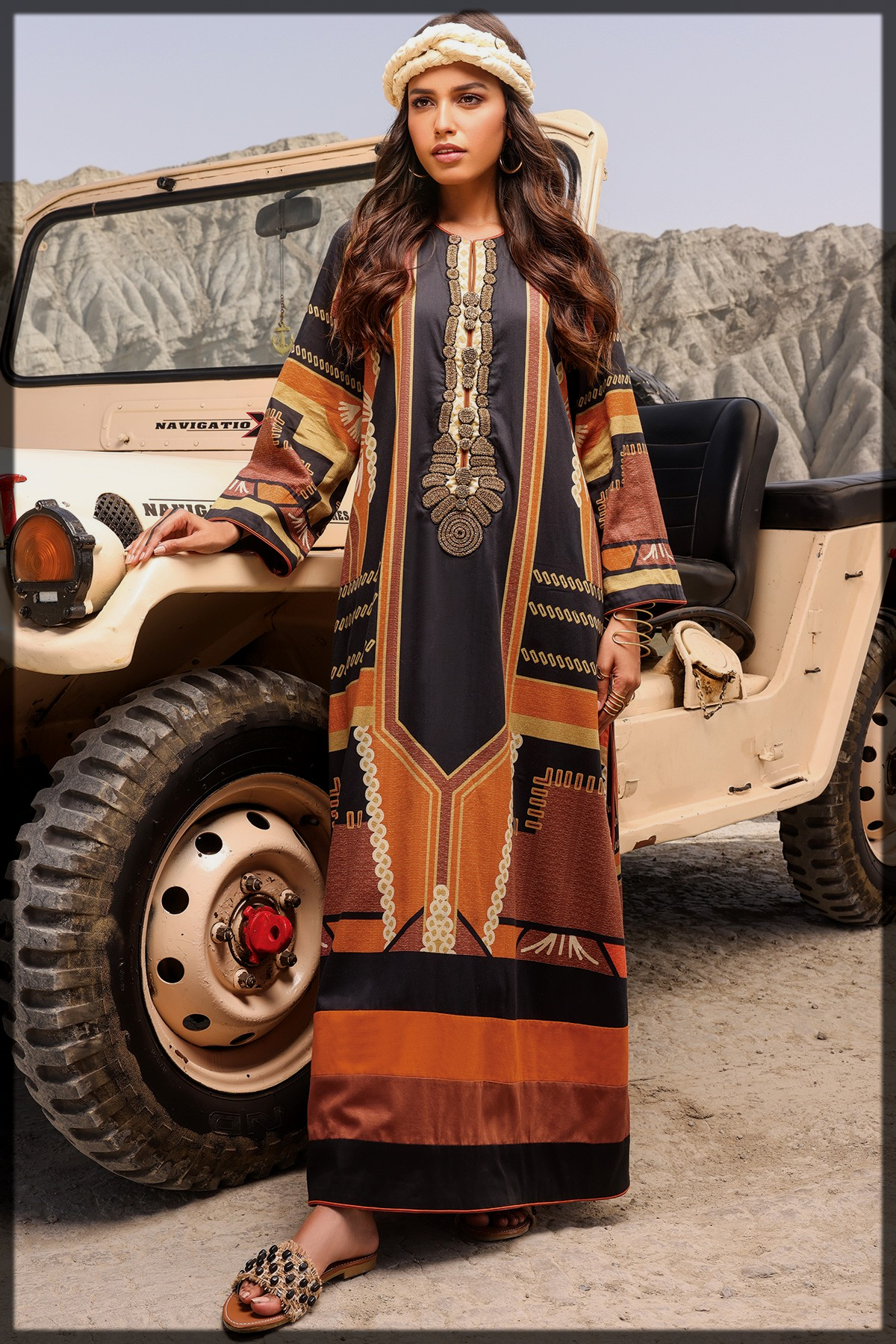 classical 2 Pc Embroidered Suit With Cambric Trouser