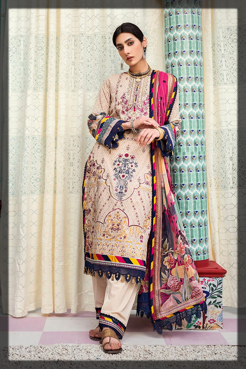 contrasting beige embroidered lawn suit