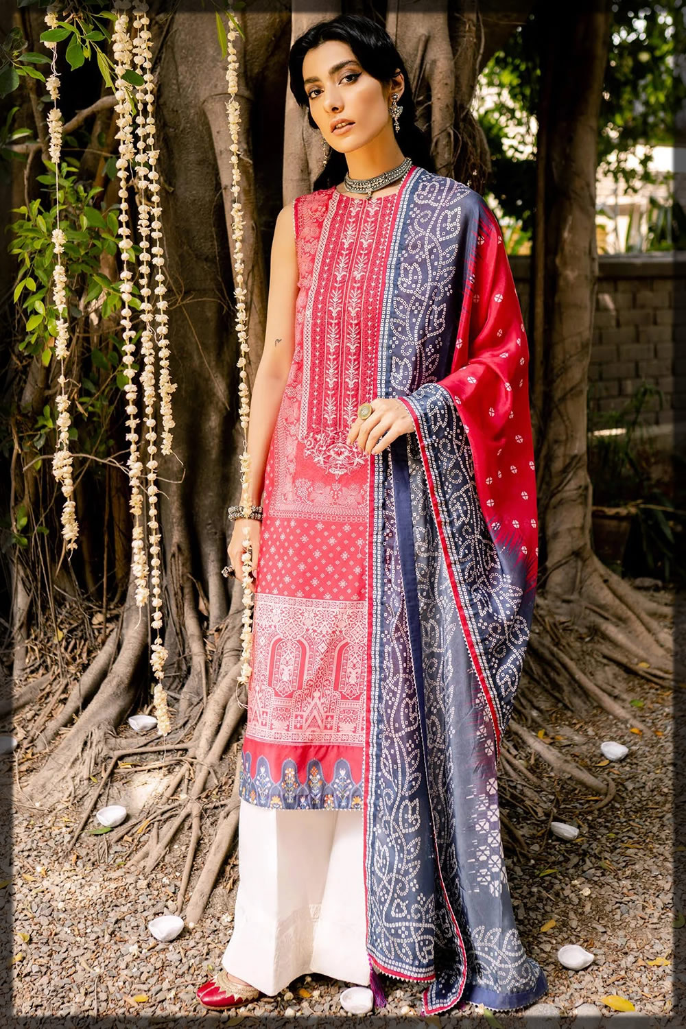 coral red embroidered lawn suit