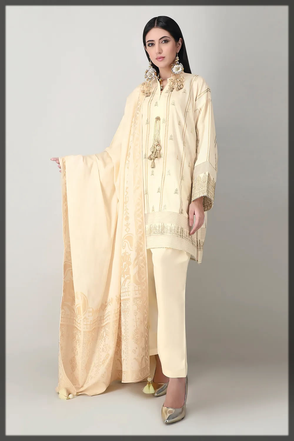 creamy off-white embroidered lawn suit