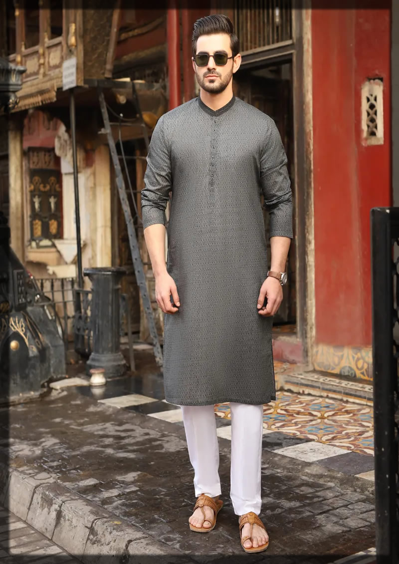 dark grey semi-formal kurta
