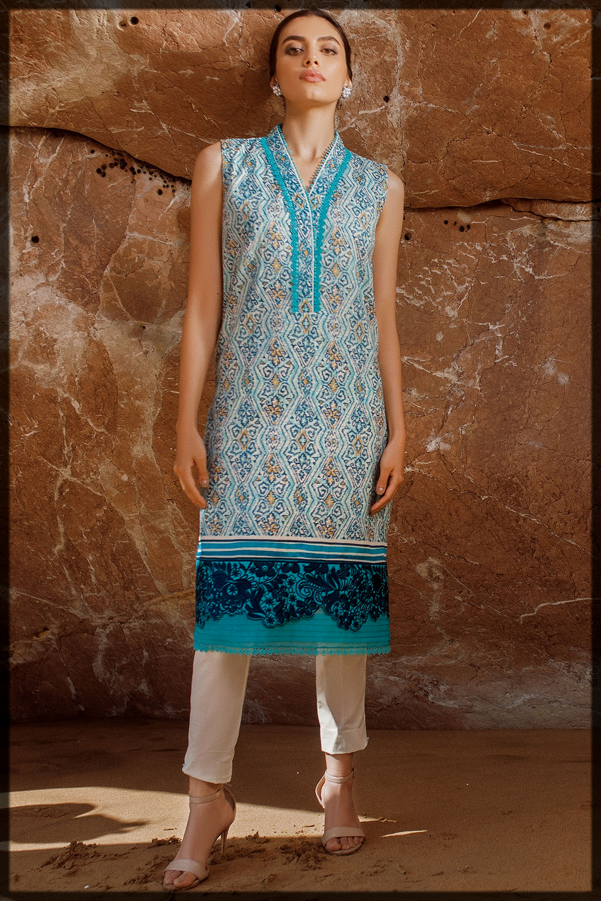 dazzling blue and white summer lawn dress