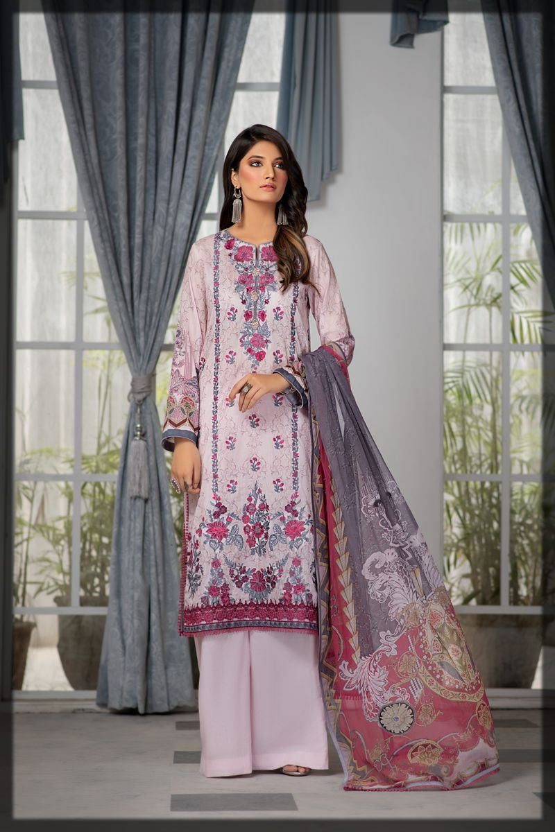 dull lilac embroidered lawn dress
