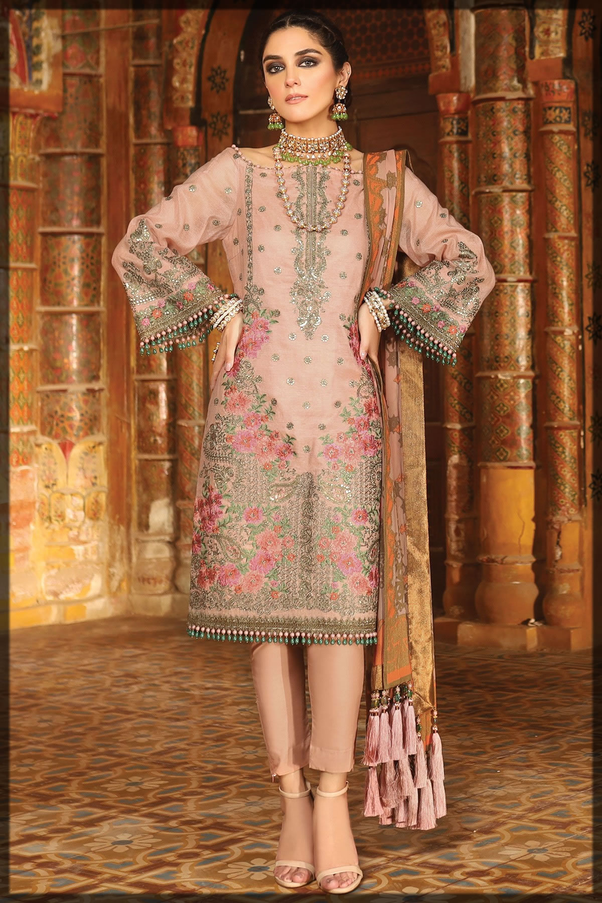 dull peach embroidered lawn suit
