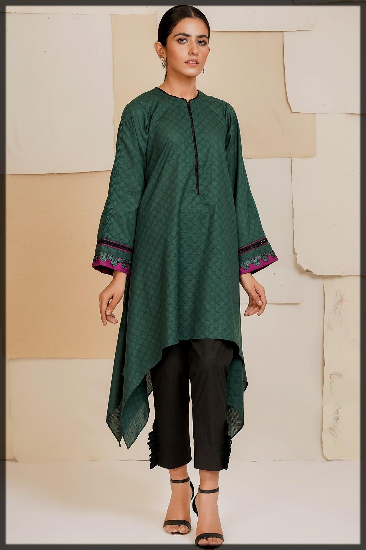 dyed jacquard kurti for women