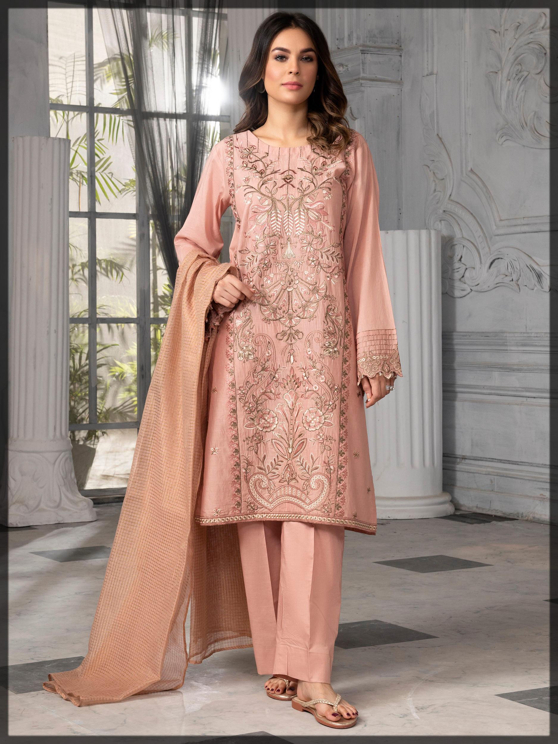 embellished pink lawn suit