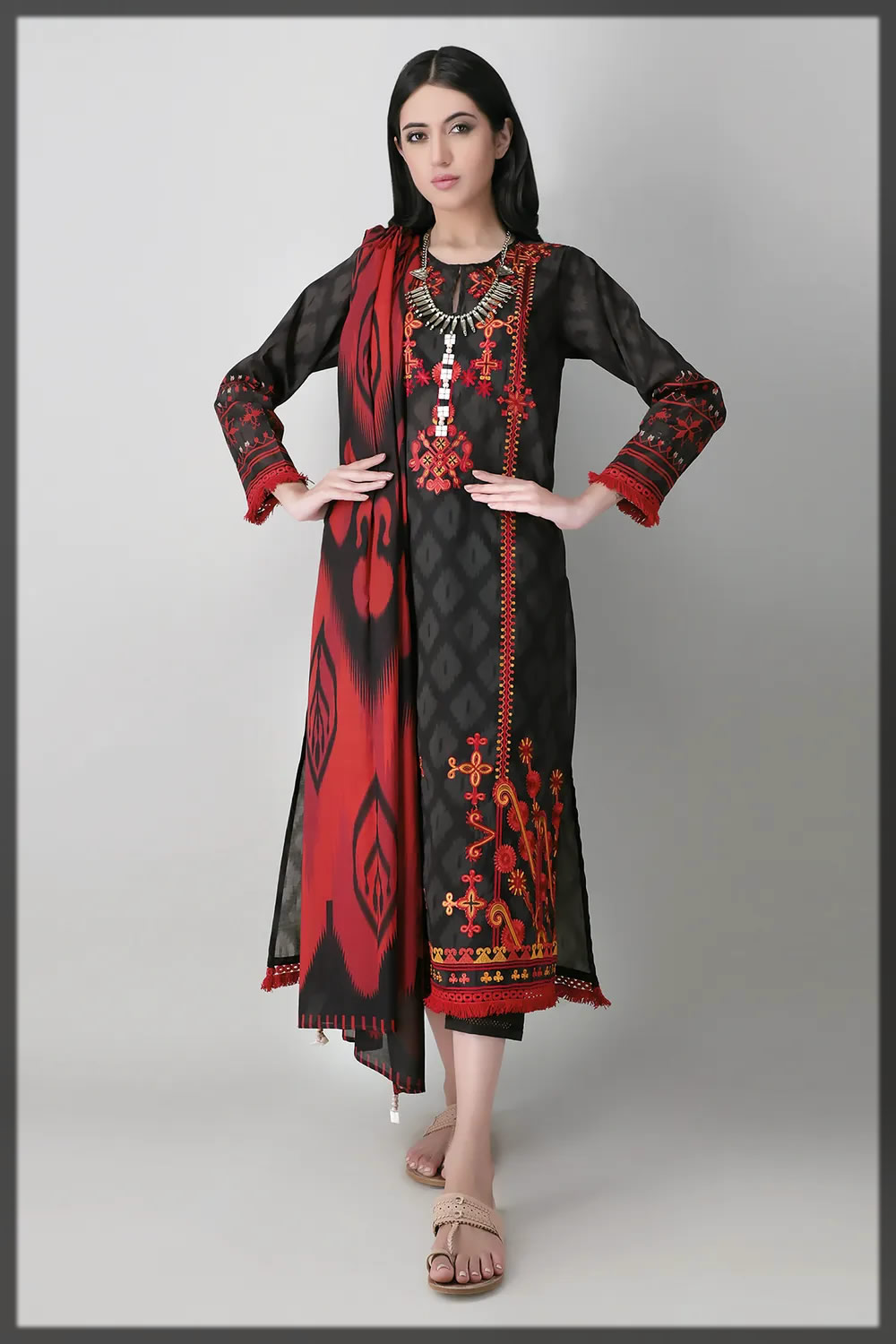 embroidered black summer lawn dress
