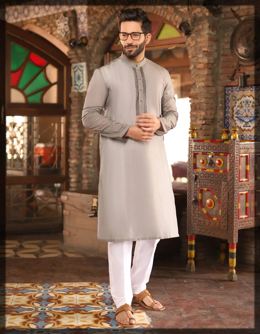 embroidered grey kurta for men