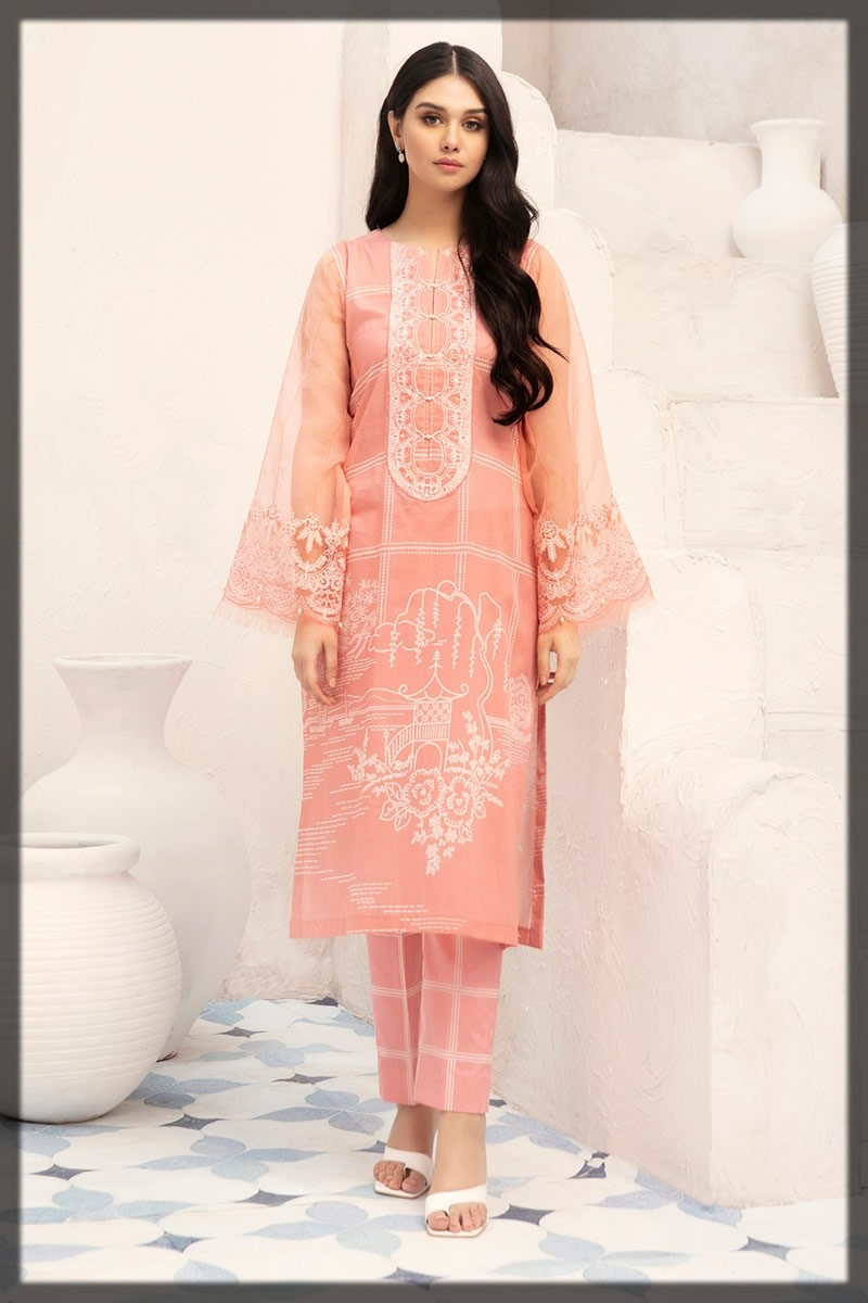 embroidered pink lawn dress