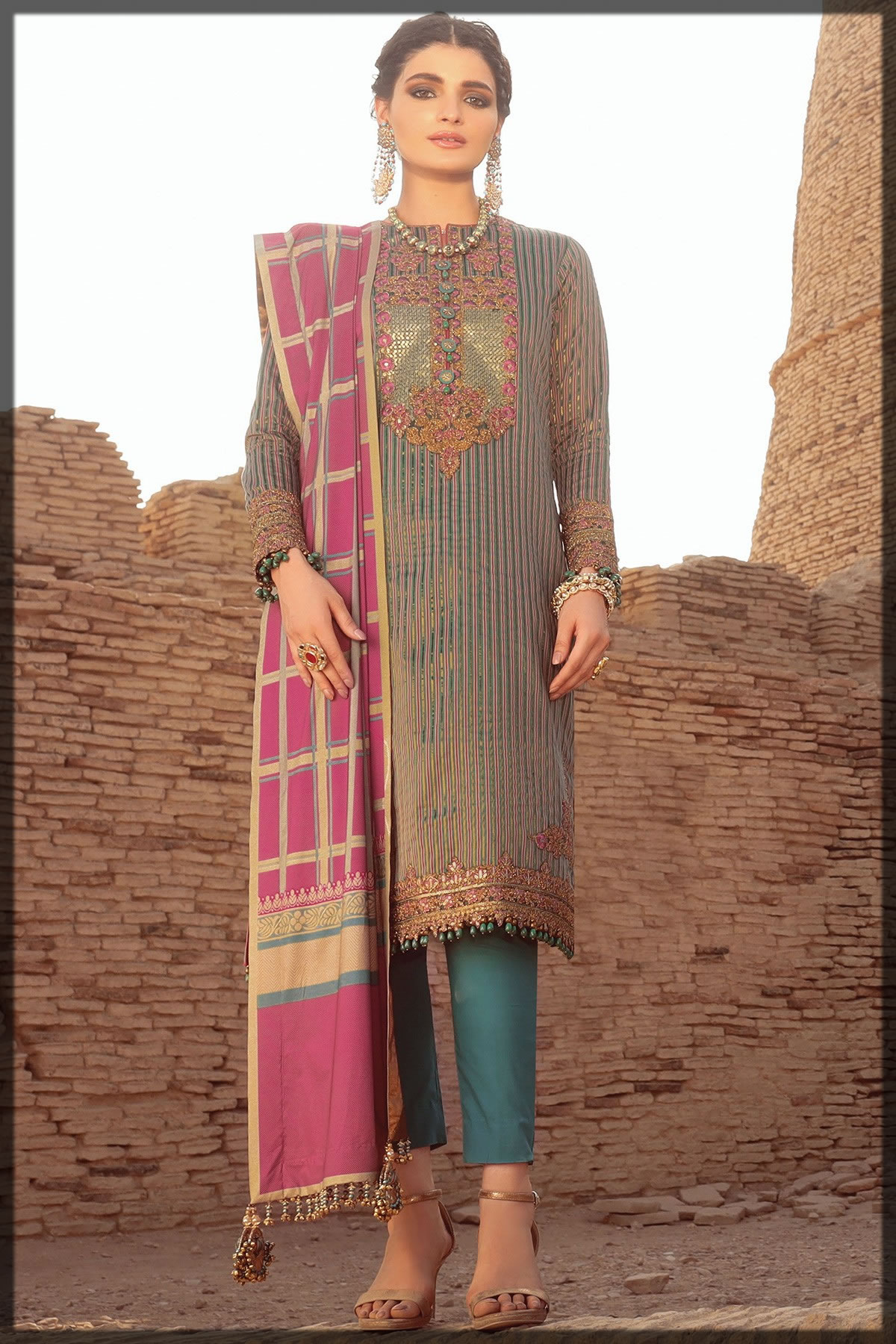 embroidered yarn dyed festive suit