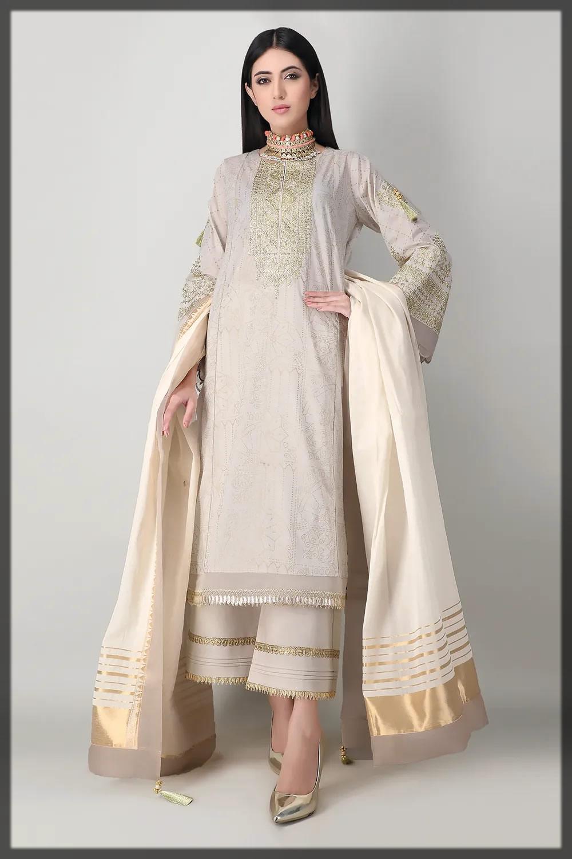exquisite white khaadi summer dress