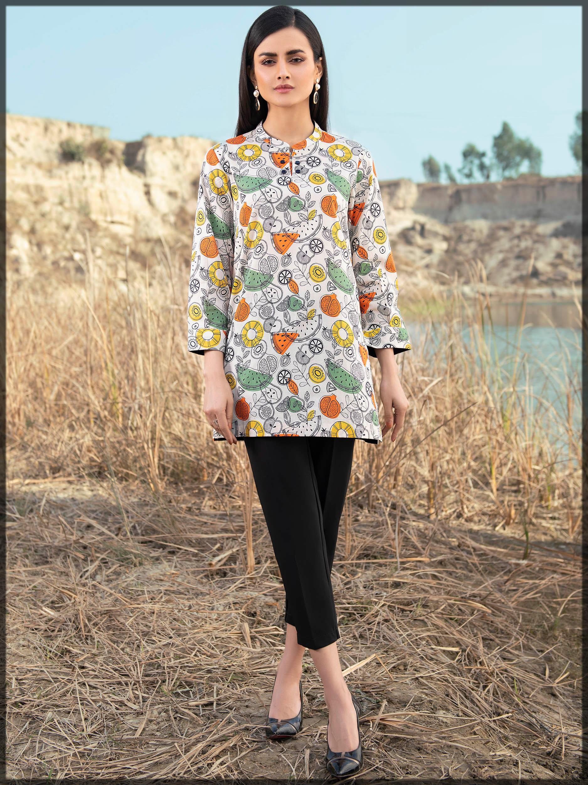 floral printed lawn shirt