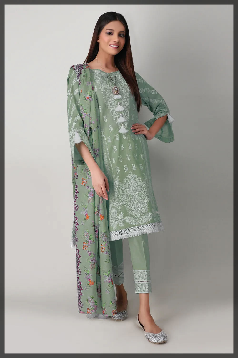 green printed unstitched lawn suit