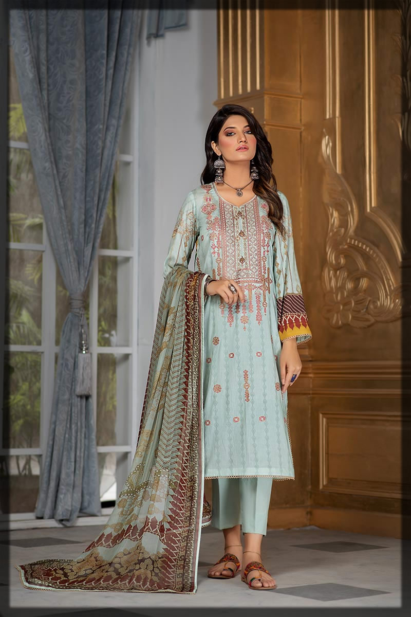 ice blue embroidered lawn dress