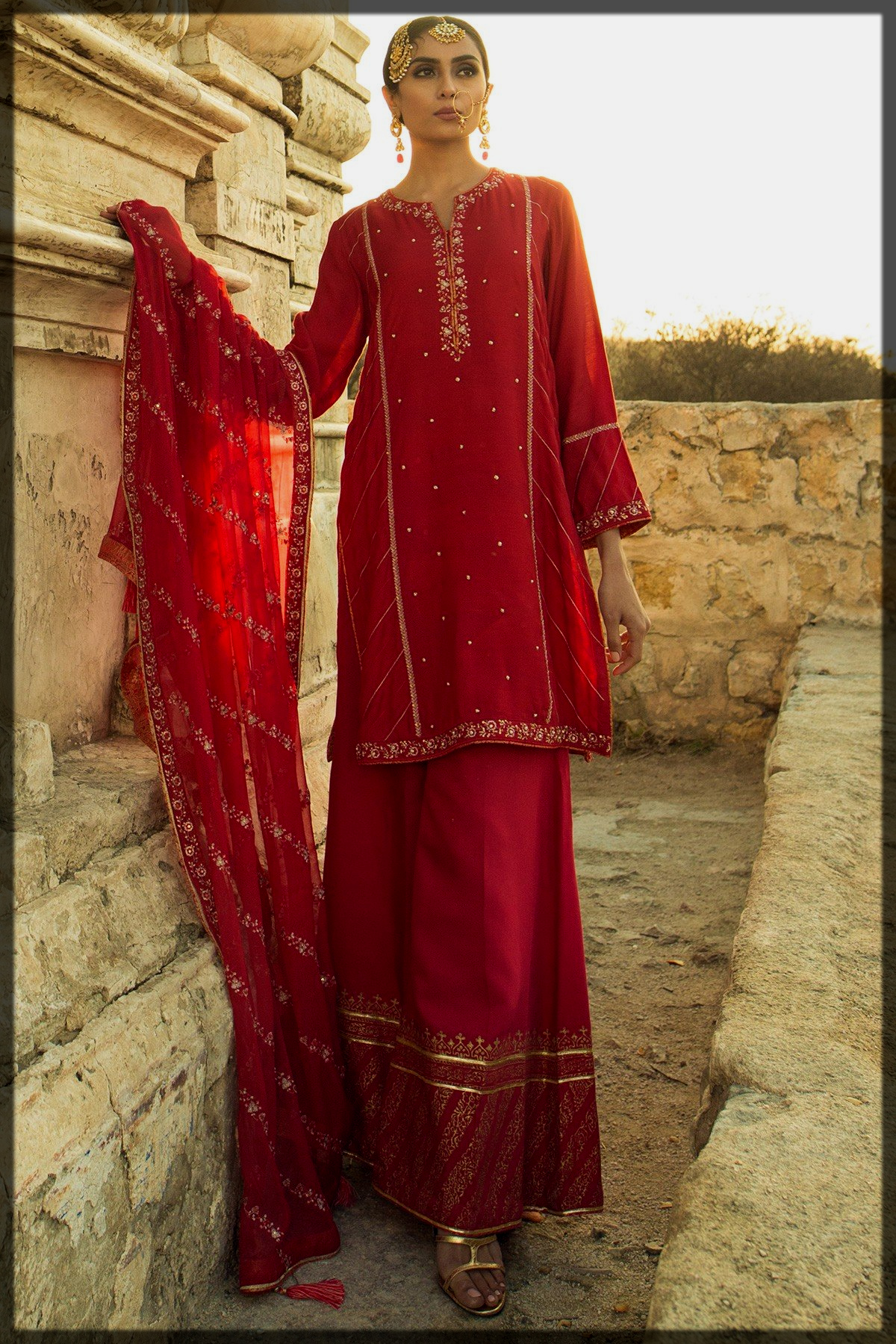 impressive red summer party wear suit