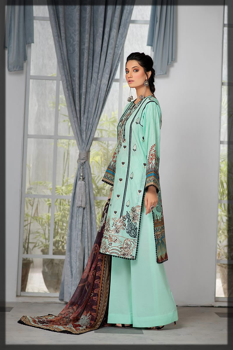 light ferozi blue embroidered lawn dress