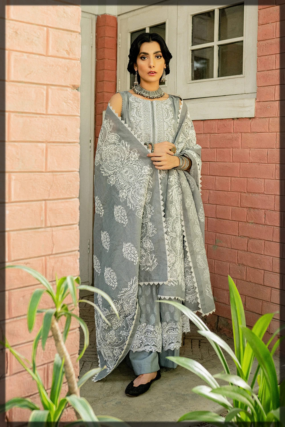 light grey embroidered lawn suit