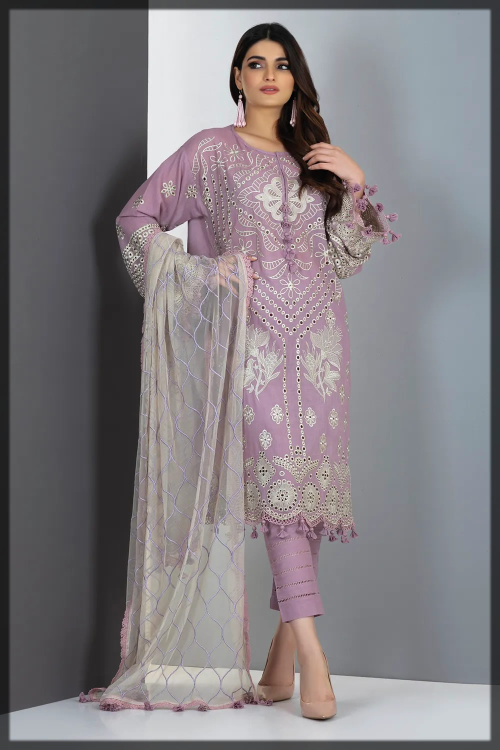 light lilac embroidered lawn suit
