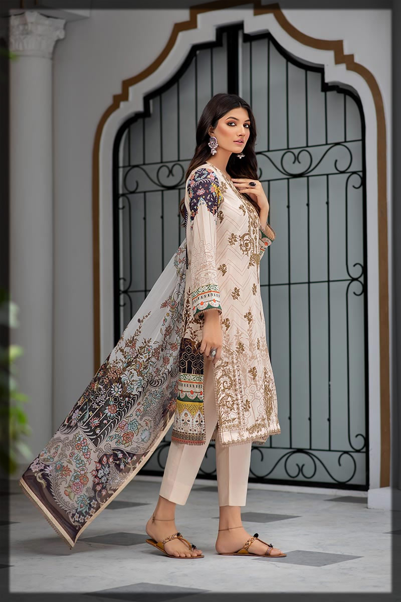 light off-white embroidered lawn dress
