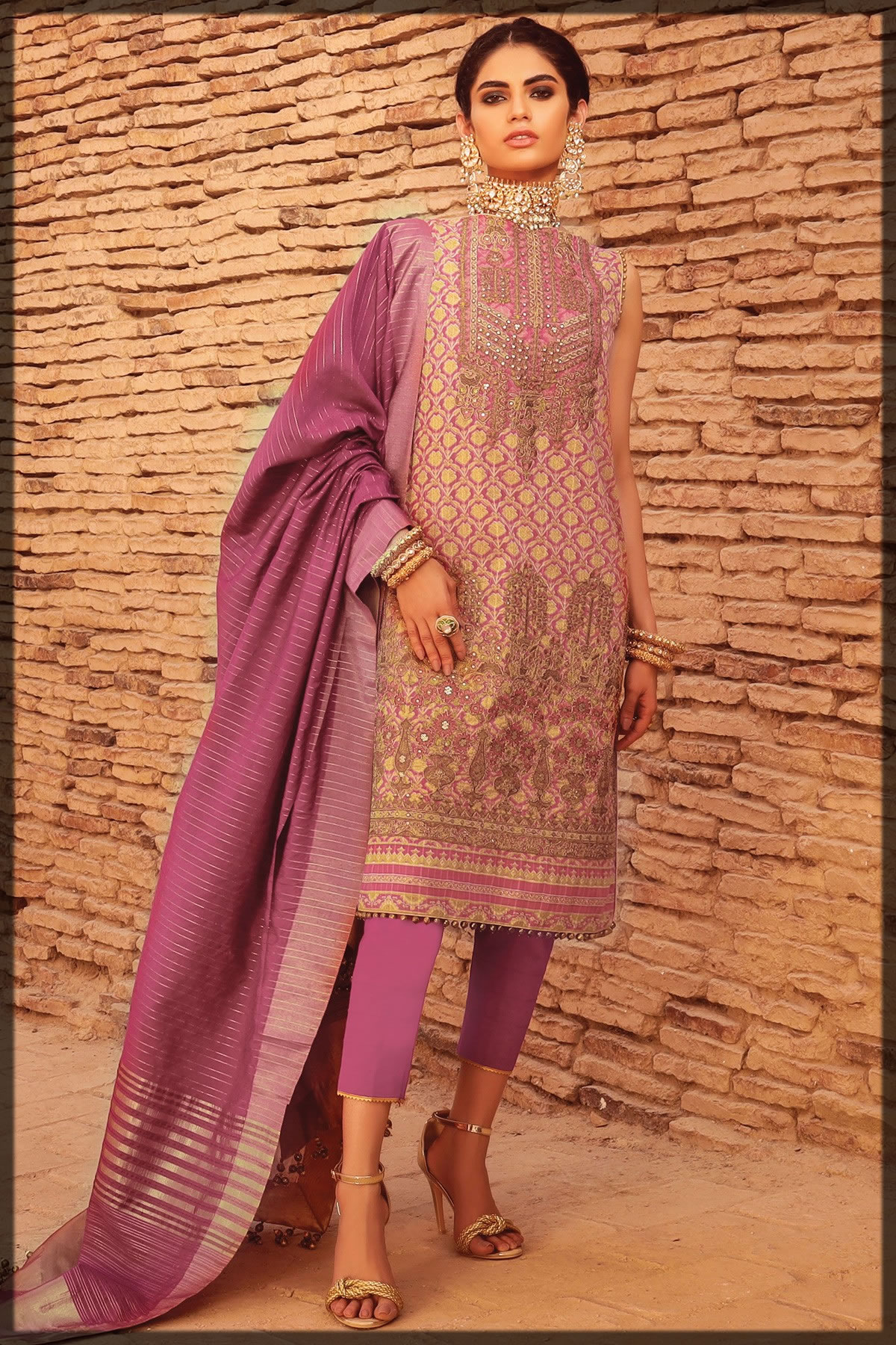 light pink embroidered festive lawn suit