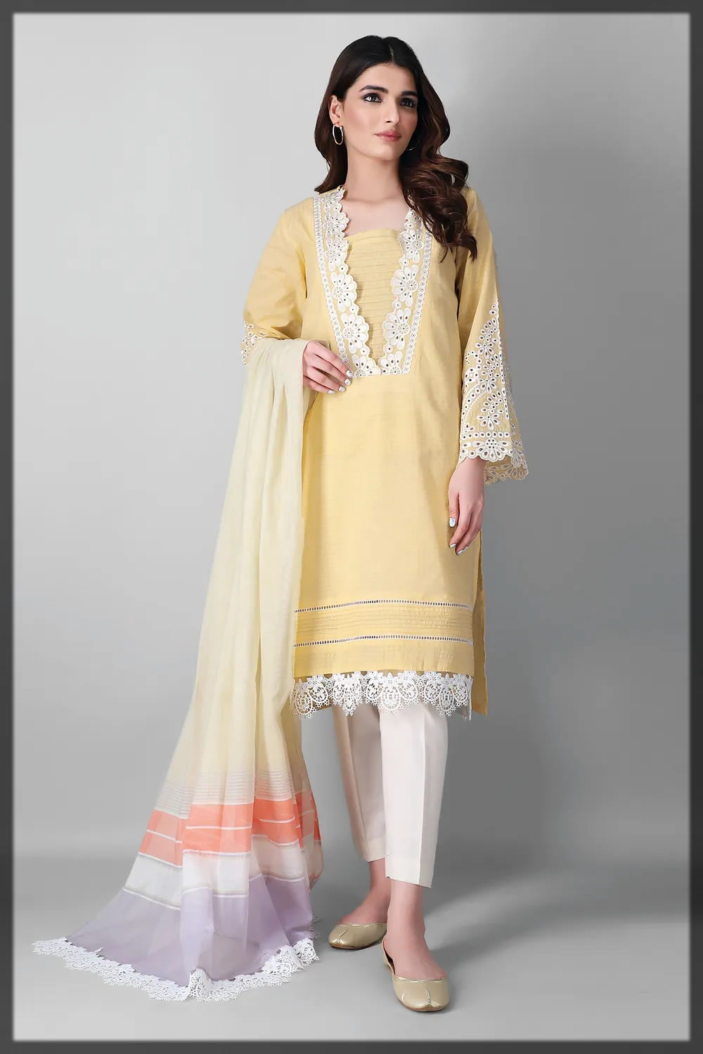 light yellow embroidered lawn suit