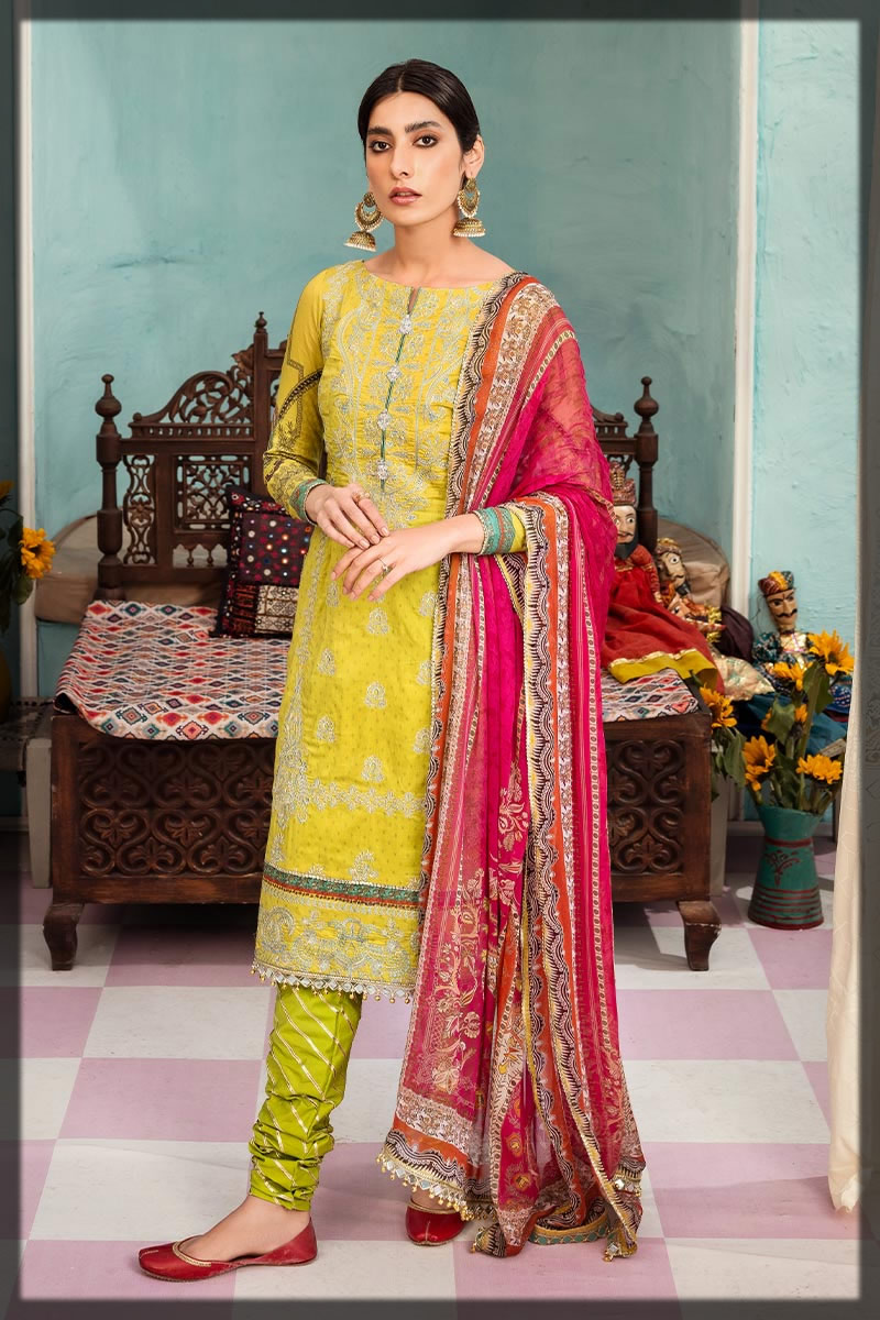 lime yellow embroidered lawn suit