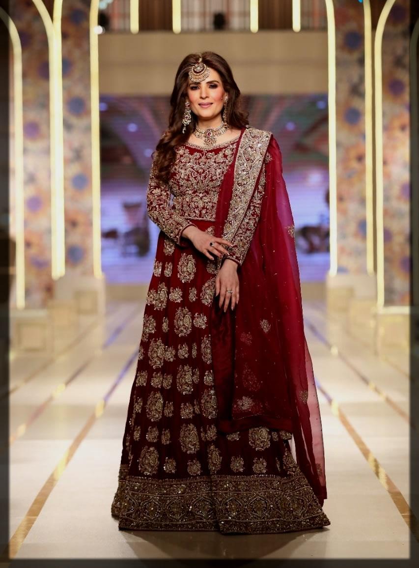 maroon bridal dress