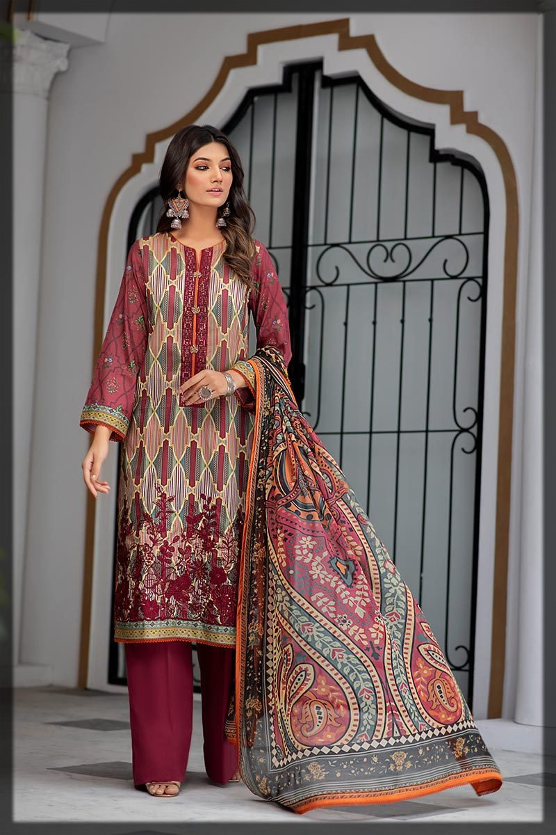 maroon embroidered lawn dress