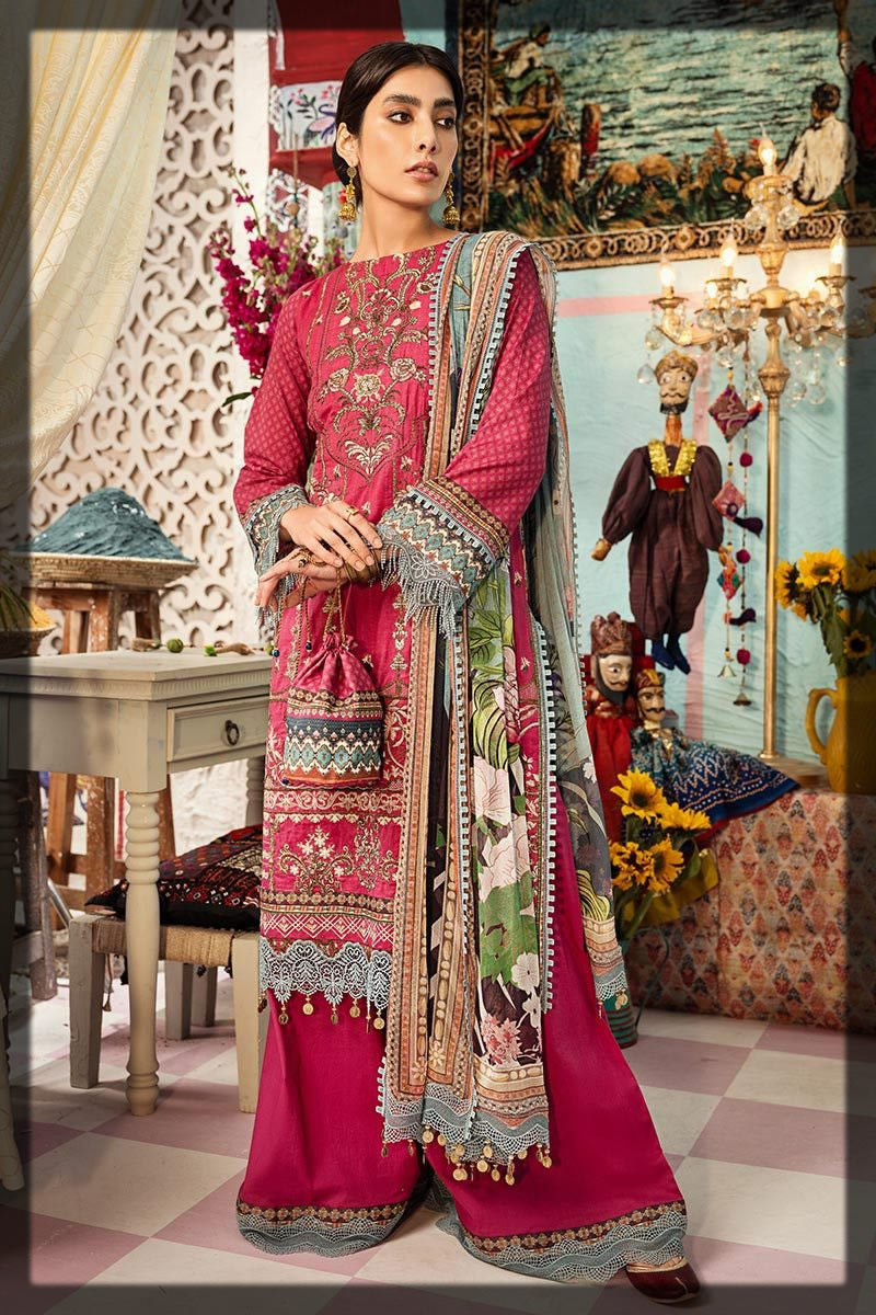 maroon embroidered lawn suit