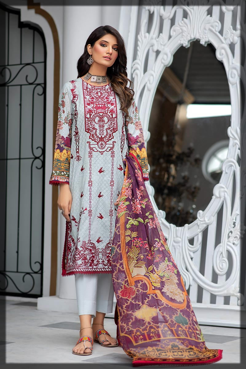 midnight blue embroidered lawn dress