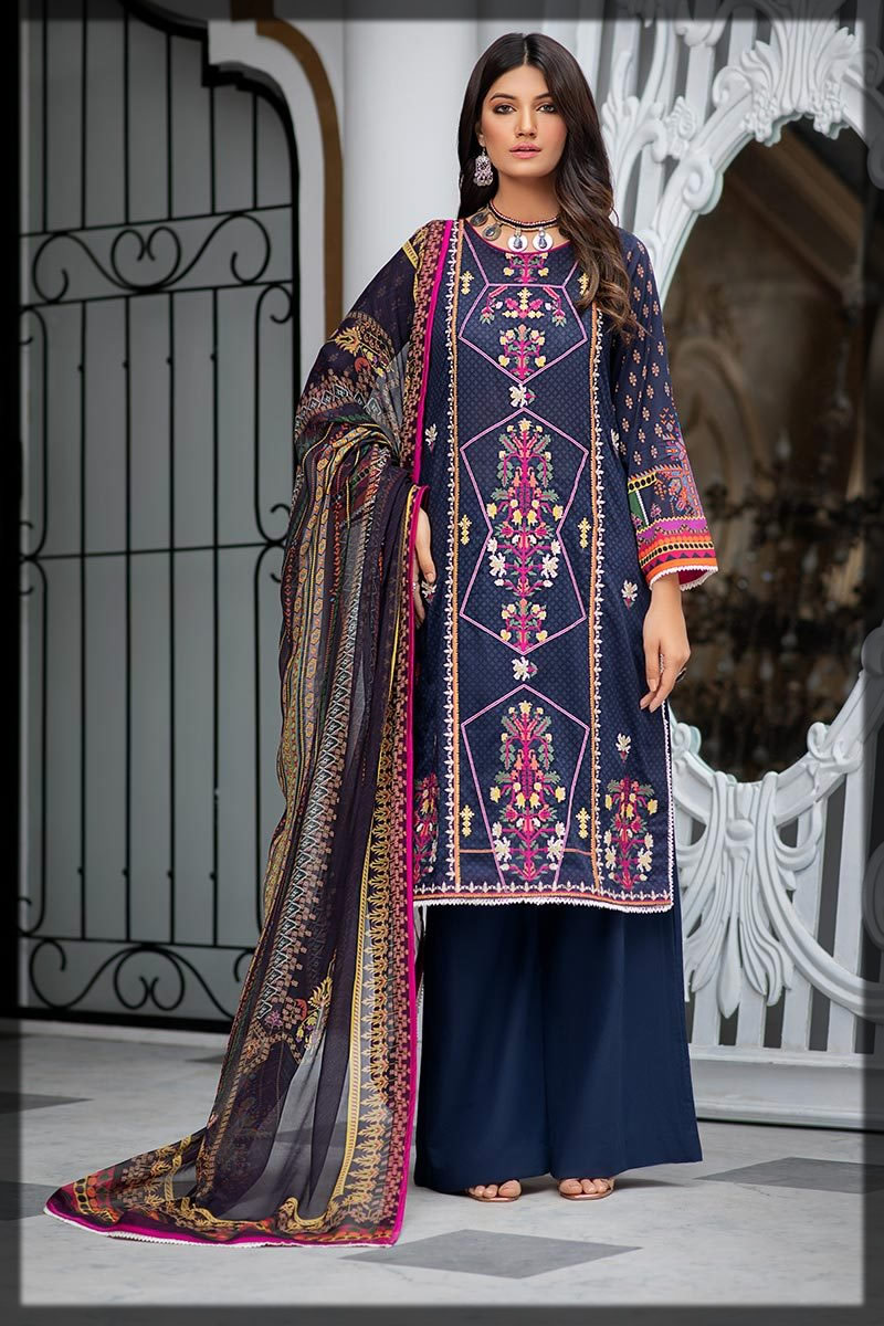 monochromatic navy blue embroidered lawn dress