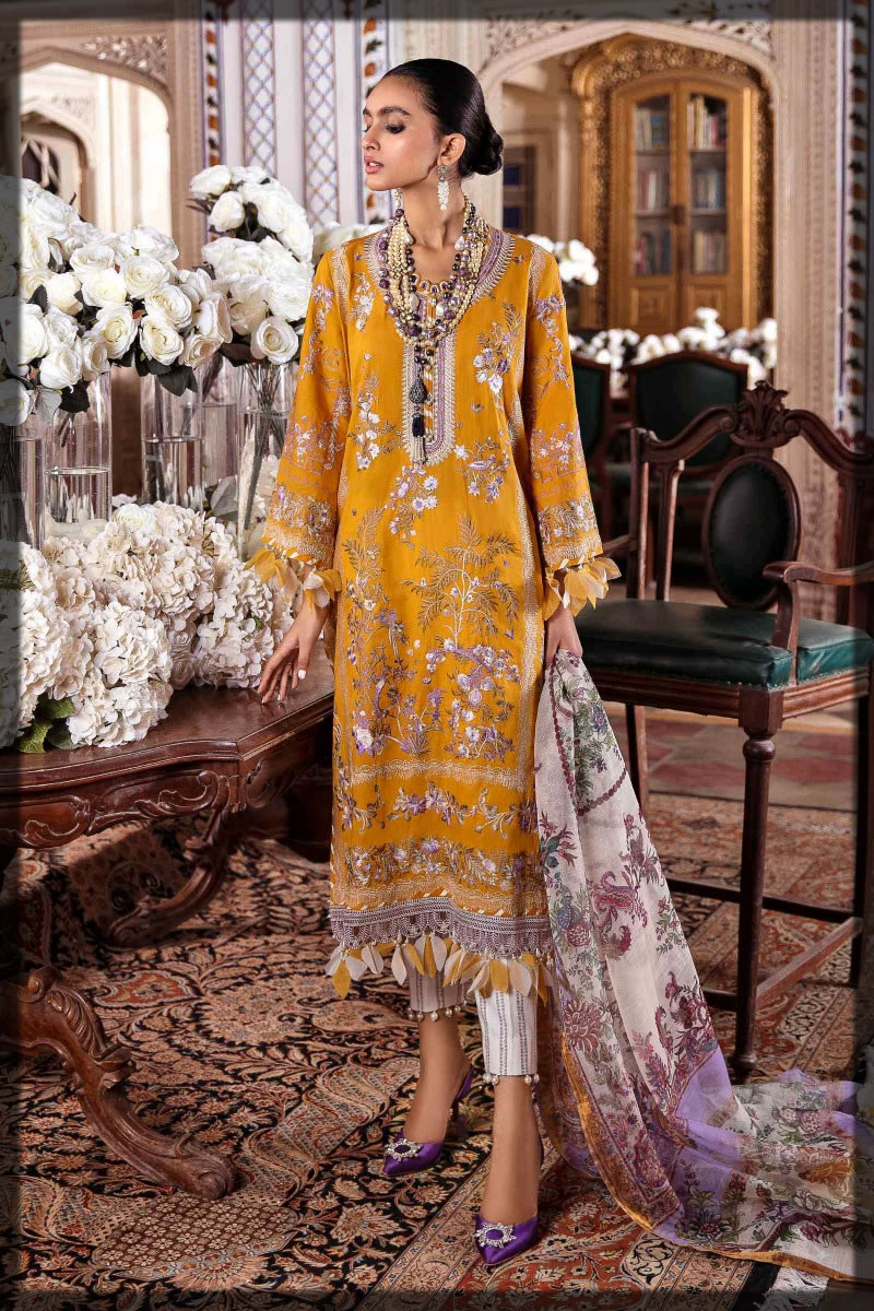 mustard embroidered premium lawn suit