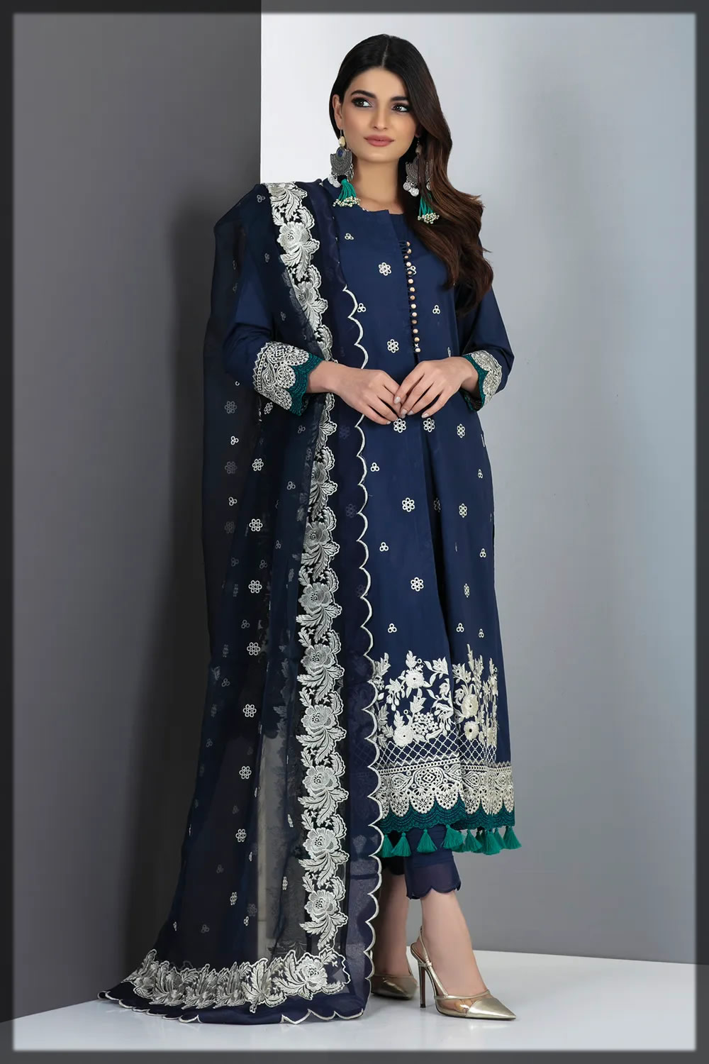 navy blue embroidered lawn suit