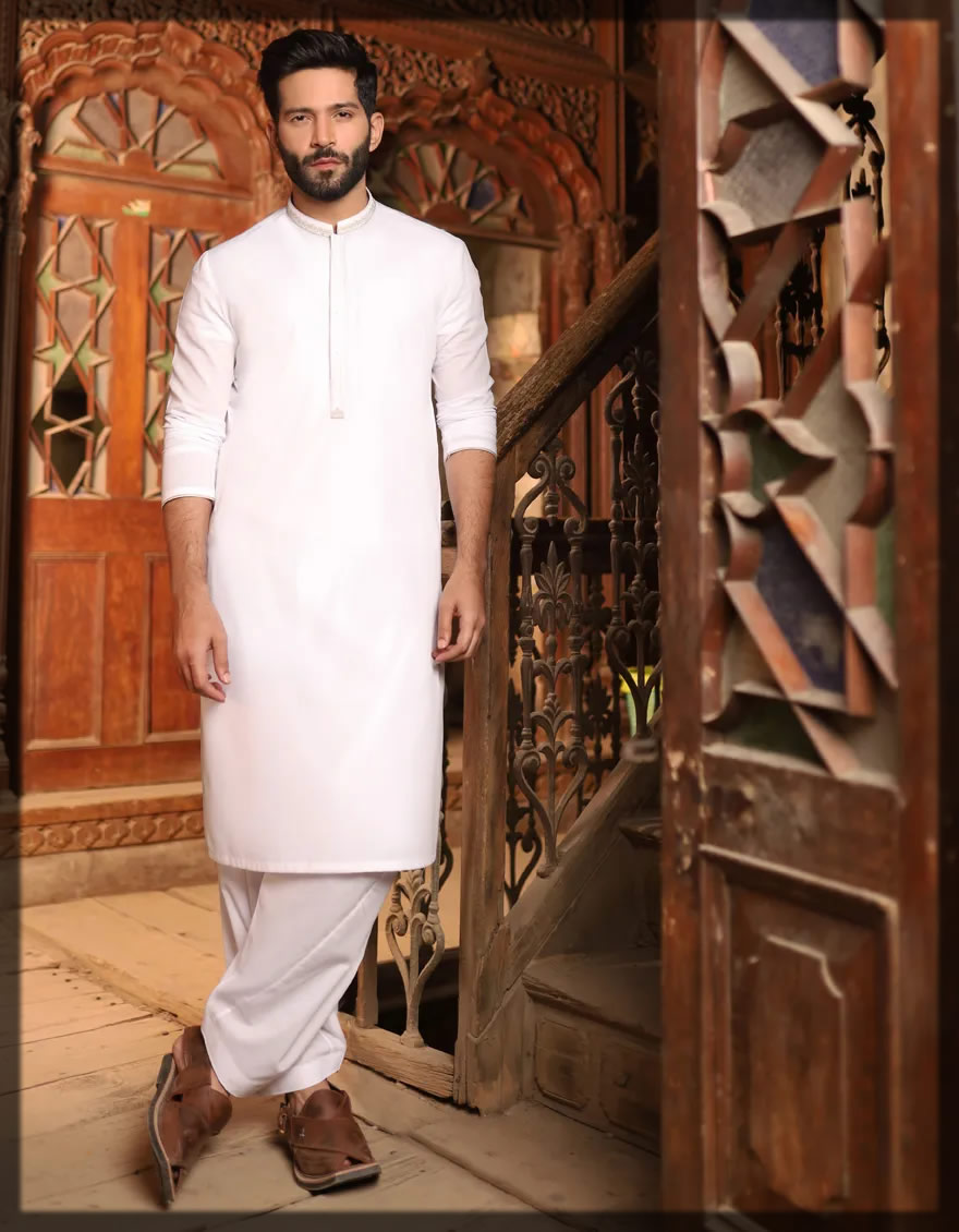 optical white shalwar kameez for men