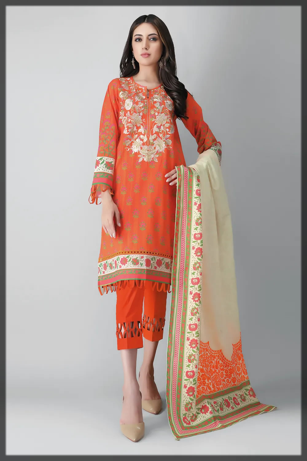 orange embroidered lawn suit