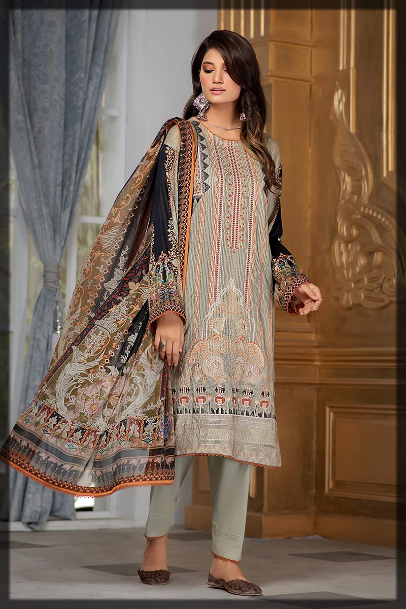 ornamental bloom embroidered lawn dress