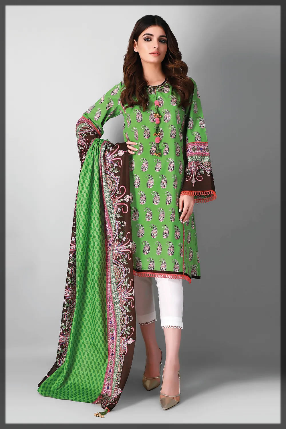 parrot green printed lawn suit