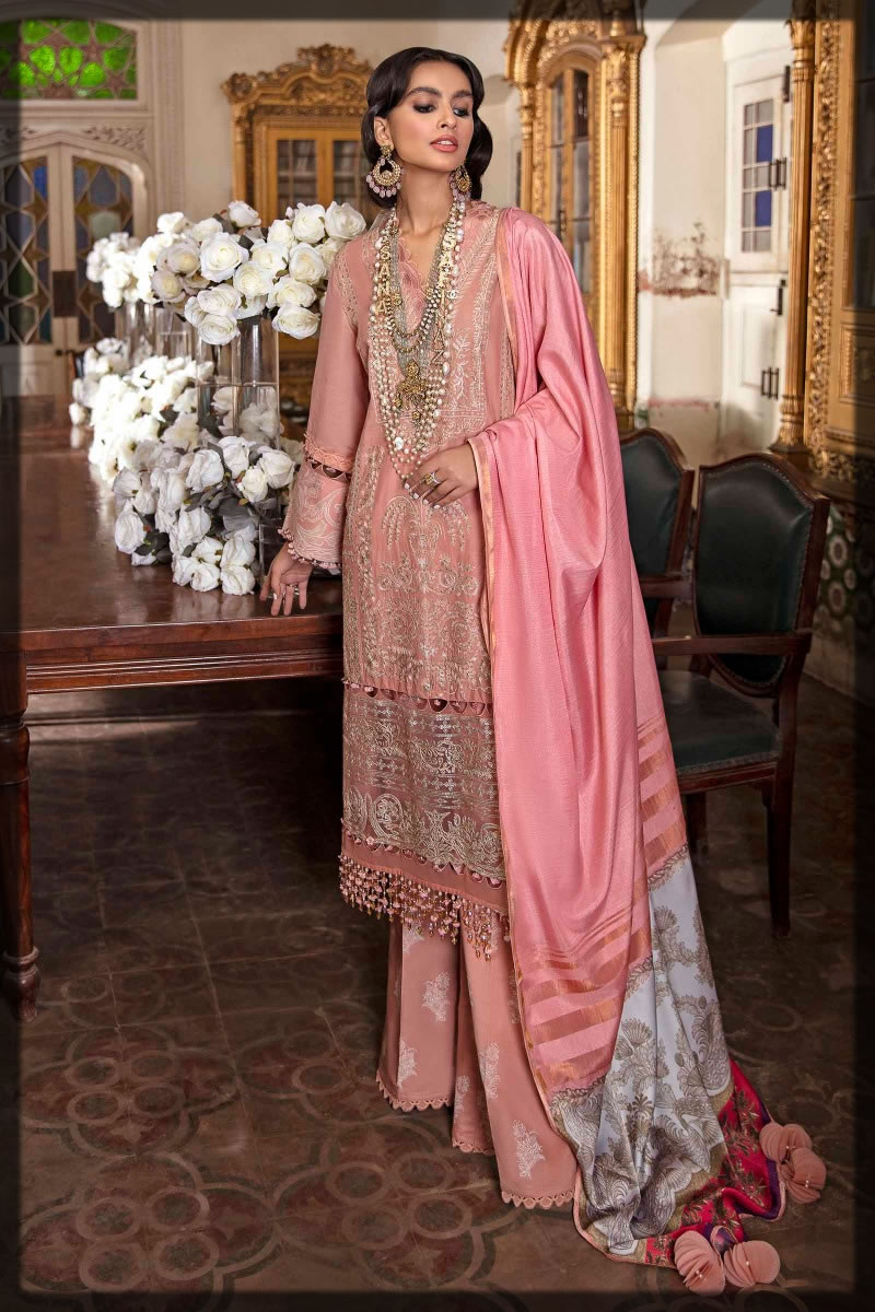 pink embroidered premium lawn suit