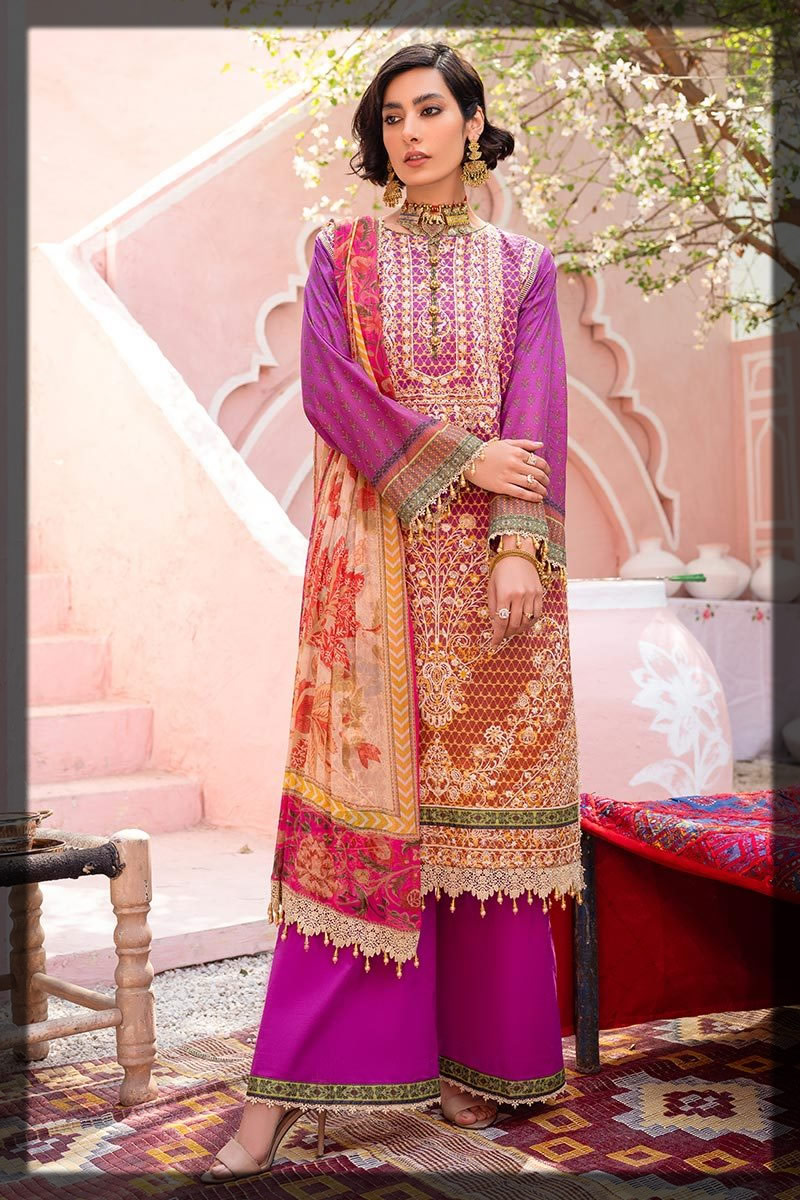 pinkish purple lawn embroidered suit