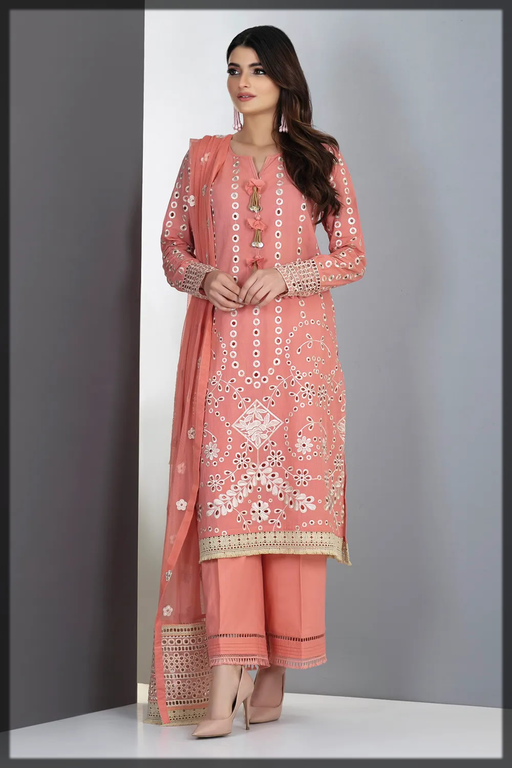 pretty pink embroidered lawn suit