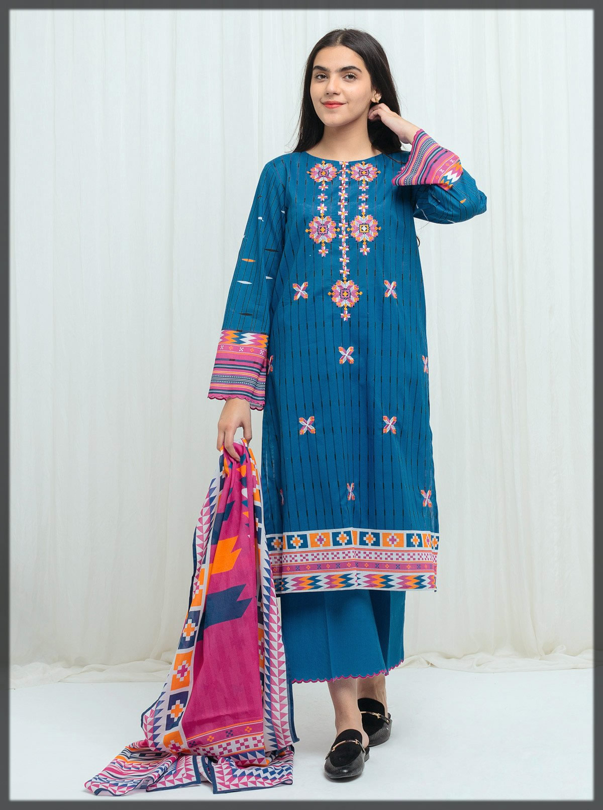 royal blue embroidered lawn branded dress