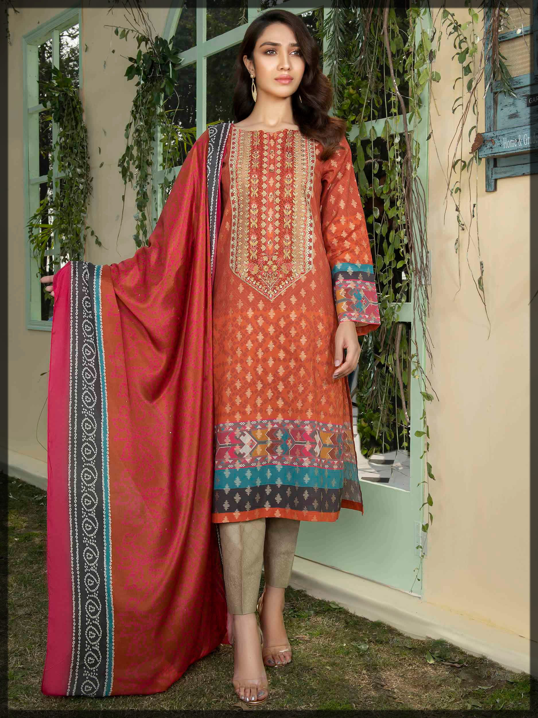 rust embroidered jacquard suit
