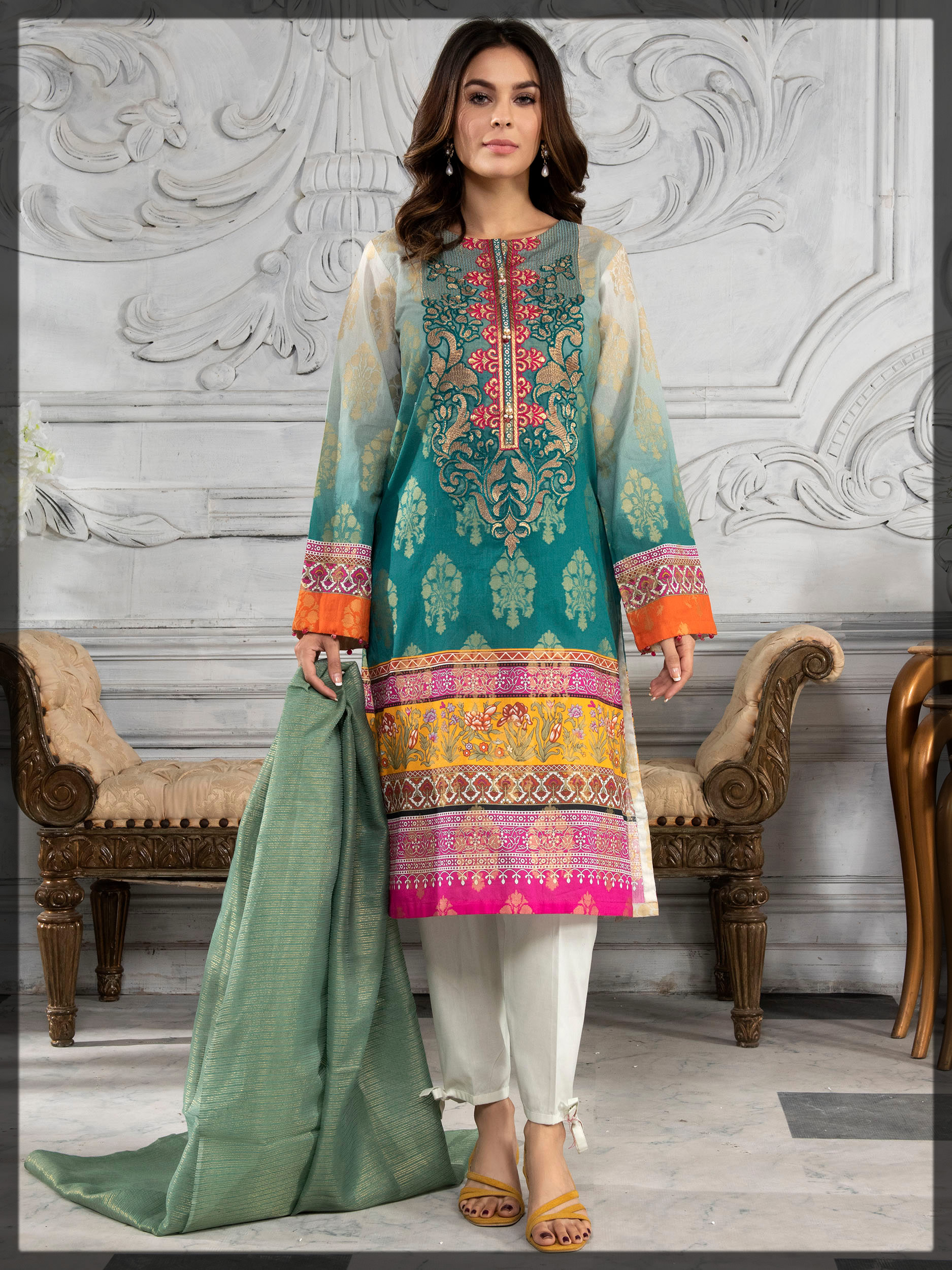 sea green embroidered jacquard suit