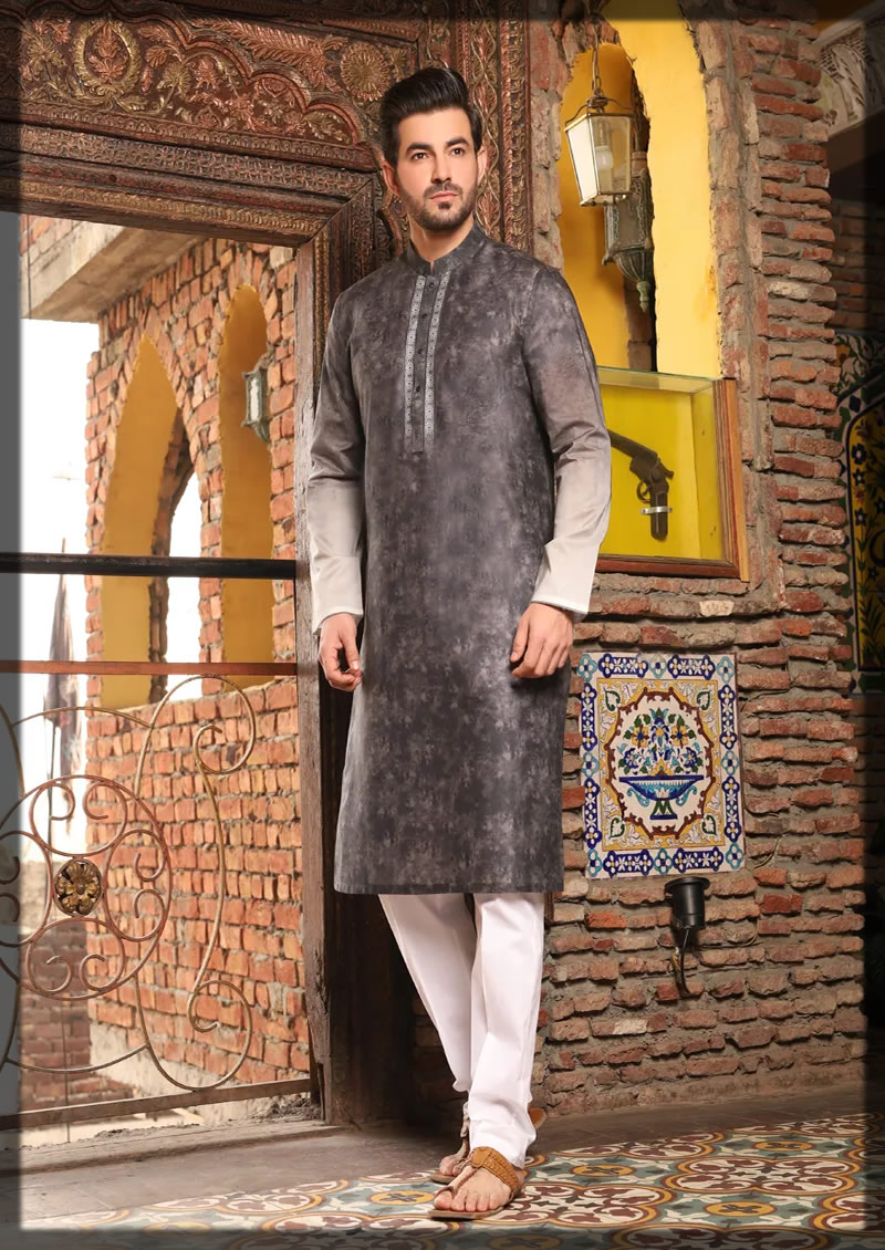 semi-formal charcoal grey kurta