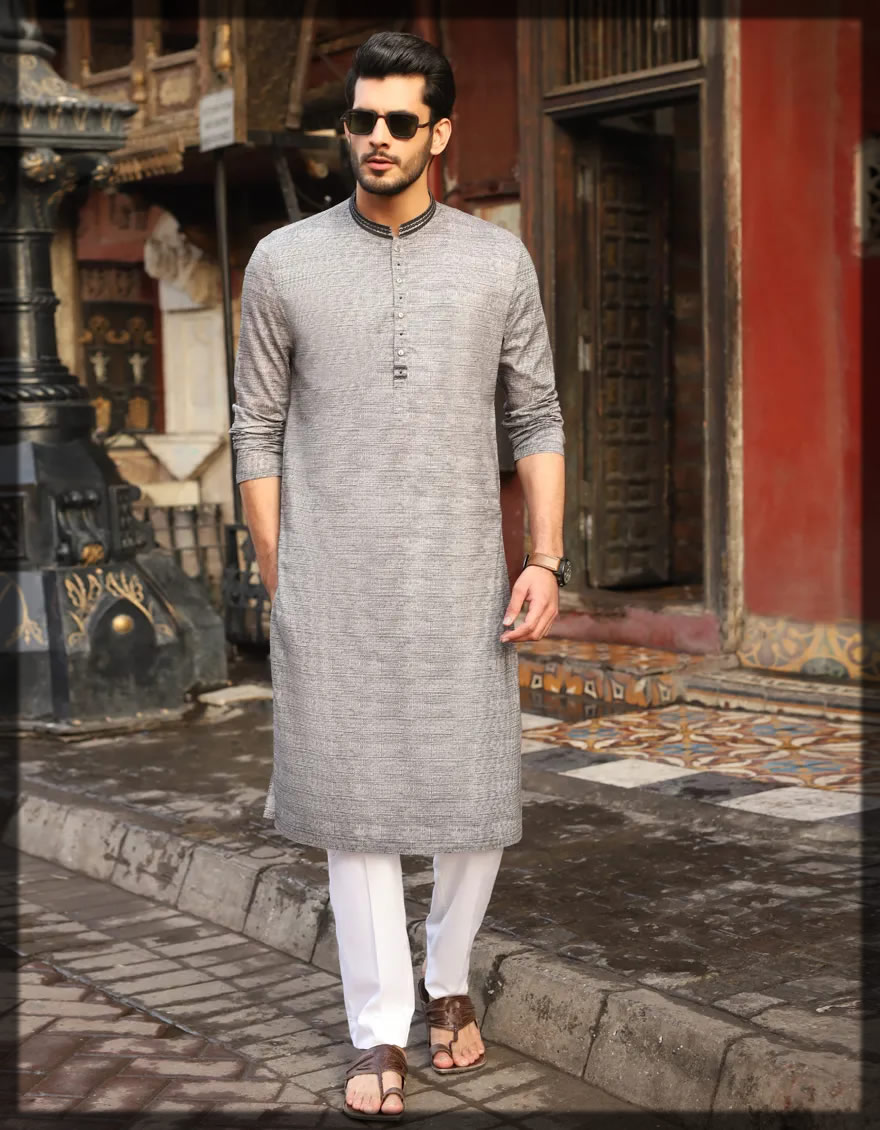 semi-formal grey kurta for men
