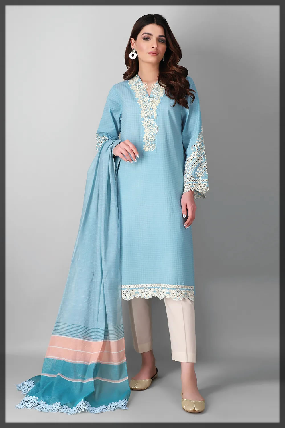 sky blue contemporary embroidered lawn dress